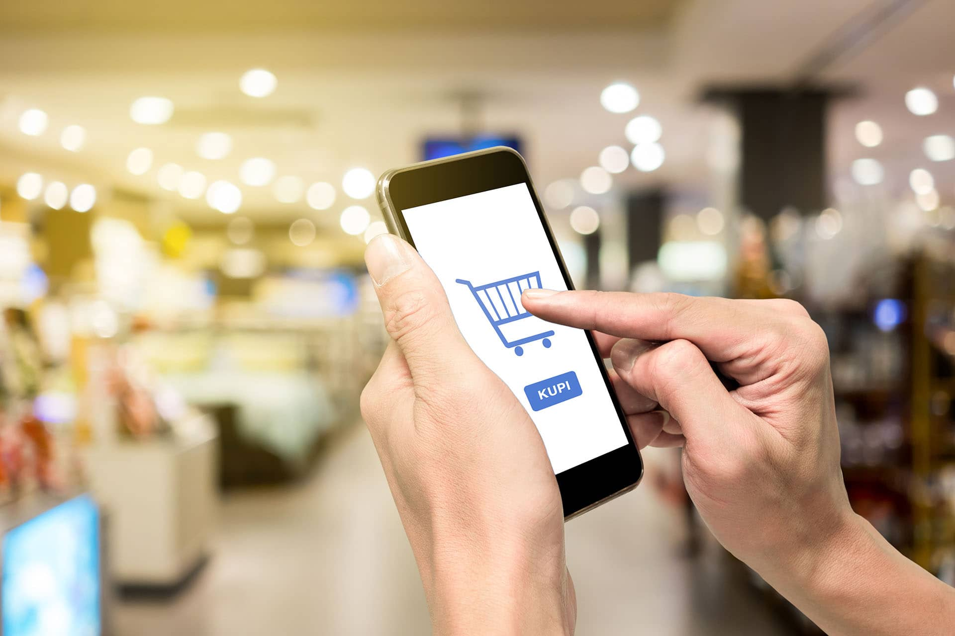 One using smartphone for e-commerse