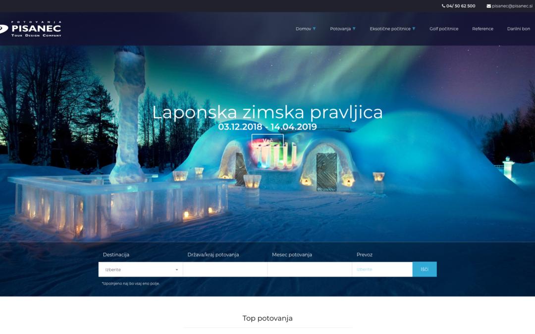 Spletna stran Potovanja Pisanec